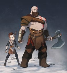 God of War BOI I watched a play through of this and it was a Lot better than I expected. Recently, I got Photoshop CC and wanted to play around with the brushes so I drew these two! It's Kratos and his smol son Atreus. John Rambo, Kratos God Of War, Cool Illusions, Cartoon Shows, Video Game Art, Cute Art, Avengers, Character Design, Character Drawing