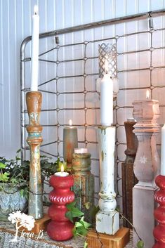 Repurpose old table legs into fun candlesticks. Decorative paint accents and DIY sheet metal shades make a fun upcycyled and home decor accessory.