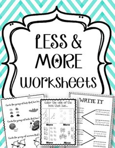 13 More & Less Worksheets!!Great for Review and Math Centers!!