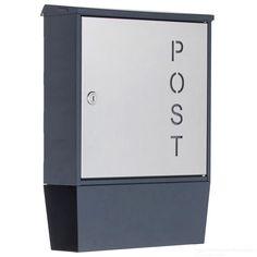 """Design Briefkasten """"POST"""" 596P mit Zeitungsfach - RAL 7016 anthrazit-grau - Edelstahl Entnahmetür"""