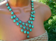 Statement Turquoise Bib Necklace Chocolate Brown by cuppacoffee