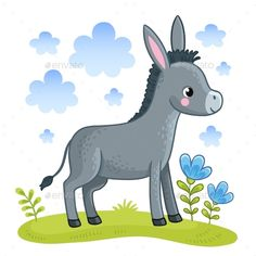 Buy Donkey Standing in a Clearing by svaga on GraphicRiver. A cute donkey is standing in a clearing. Vector illustration with a cartoon animal. Cartoon Cartoon, Cartoon Sea Animals, Cartoon Drawings, Animal Drawings, Cartoon Characters, Baby Donkey, Cute Donkey, Art Background, Vector Background