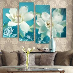 Multi Combination Modern Prints Flower Oil Painting Cuadros Canvas Art Flowers Wall Pictures For Living Room Unframed Art Floral, Floral Watercolor, Diy Wall Art, Large Wall Art, Wall Art Decor, Wall Murals, Living Room Pictures, Wall Art Pictures, Oil Painting Flowers