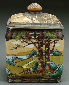 A NIPPON WOODLAND SCENE PORCELAIN COVERED HUMIDOR CIRCA 1900 HAND PAINTED COUNTRYSIDE DECORATION WITH RAISED ENAMELING AND A GRIFFIN BORDER