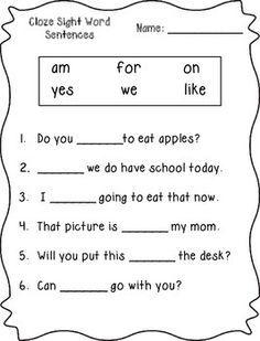 Cloze Sight Word Sentences (Primer) by Klever Kiddos First Grade Worksheets, Sight Word Worksheets, Phonics Worksheets, Reading Worksheets, English Worksheets For Kids, English Activities, Cloze Activity, Sight Word Sentences, Site Words