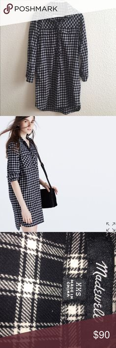 MADEWELL Flannel Dress A supersoft plaid shirtdress with a leg-flaunting, longer-in-back hem. Basically, a timeless boyshirt style in dress form. Worn once, it was too long for my taste {I'm 5'3}. Madewell Dresses
