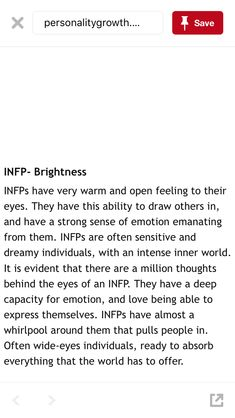 Behind the eyes of an INFP