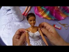 ideas for crochet doll clothes tutorial free sewing Crochet Barbie Clothes, Doll Clothes Barbie, Barbie Dress, Crochet Dolls, Sewing Clothes, Barbie Sewing Patterns, Crochet Baby Dress Pattern, Doll Videos, Homemade Dolls