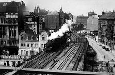 Berlin, Dircksenstraße / links Schicklerstraße, S-Bahn-Trasse, Blick Richtung Alexanderplatz, um 1930