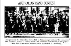 1932 - Town Hall, Maryborough. Group pictured includes conductors and secretaries of 25 visiting bands, the committee and officials of The Queensland Band Association and the Mayor, Ald. H Bashford.