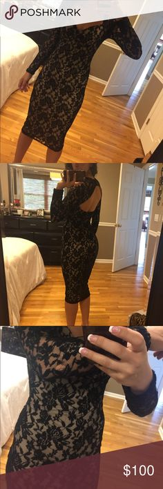 Hot Miami styles long sleeved laced dress Beautiful long sleeve down to the knee laced dress. Worn only once. There is a little tear on the back of the arm that is not very noticeable. Size small hot miami styles Dresses Backless