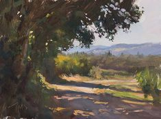 "Road to les Pousse Chiens 25cm x 19cm (approx. 10""x8""), oil on board ....Julian Merrow-Smith"