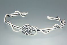 """14st 659 - Sterling Silver Light Gauge Vine Cuff with 1/2"""" Beaded Spiral."""