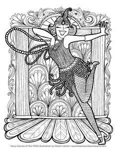 adult coloring pages vintage 1920s flapper illustration
