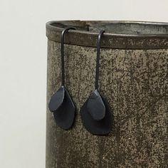 small-black-petal-earrings- Black Earrings, Oxidized Sterling Silver, Silver Jewellery, Handmade Silver, Jewelry Design, Contemporary, Black Stud Earrings, Silver Jewelry, Silver Decorations
