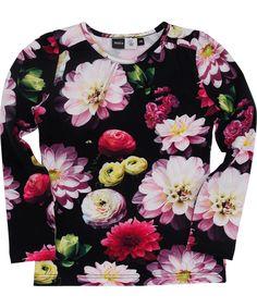 Molo fashionable dark t-shirt with big flower print. molo.en.emilea.be
