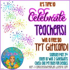 Celebrate teachers at Teachers Pay Teachers Tuesday and Wednesday, May 3rd and 4th, 2016. Everything in my store will be 28% off when you use the code CELEBRATE at checkout! Plus, you can enter to win one of two TpT gift cards on my blog! Enjoy! :-)