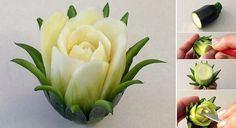 How to DIY Zucchini Cactus Rose Flower (video tutorial) #Vegetable. #Garnish, #FoodArt