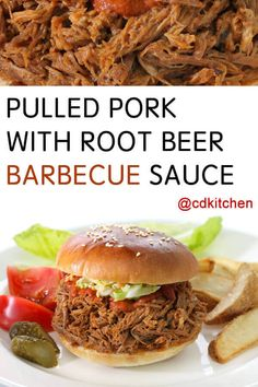 Crock Pot Pulled Pork With Root Beer Barbecue Sauce Recipe from CDKitchen Pulled Pork Sauce, Pulled Pork Roast, Pulled Pork Recipe Slow Cooker, Pulled Pork Recipes, Slow Cooker Pork, Beer Barbecue Sauce Recipe, Barbecue Recipes, Bbq, Beer Recipes