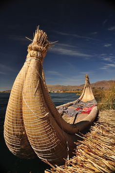 Traditional reed boat in Uros Island, Peru. Photo by Yvonne Lin