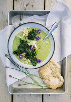 simple asparagus + ramp soup with rustic spelt bread