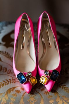 Bright Pink Sophia Webster Bridal Shoes | 60s Inspired London Pub Wedding | The Peasant | Babb Photo