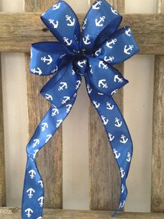 Royal Blue nautical white anchor wreath bow for garlands, decorating tables, chairs, buffets, wreaths, even packages for gift bows for spring