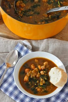 Freekeh Soup with Sweet Potato and Kale from The Corner Kitchen
