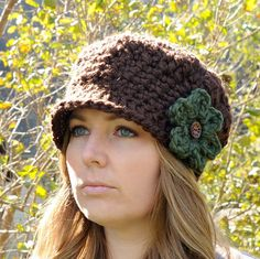 Crochet Newsboy Hat, Womens Crocheted Hat with 3 Flowers, Womens Accessories