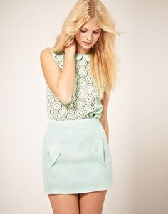 Cotton Lace Blouse With Double Collar. I love the cut and the top collar. Pockets are useful things to have. From ASOS