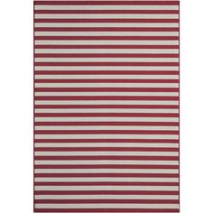 Momeni Rugs Red Stripe Indoor/Outdoor Rug ($15) ❤ liked on Polyvore featuring home and rugs