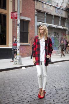 Asos check coat, Cotton On cotton shirt, J Brand leather pants, Chanel bag, Celine heels