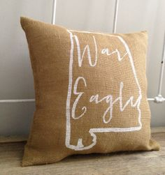 """Auburn University burlap pillow War Eagle by TwoPeachesDesign @Suzanne, with a """"z""""., with a """"z""""., with a """"z""""., with a """"z""""., with a """"z"""". clark"""