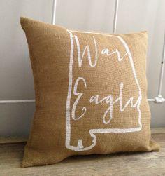 war eagle burlap pillow.
