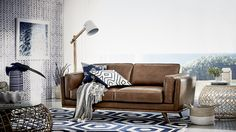 freedom's Dahlia is upholstered in a luxurious full grain leather in a complimentary tan colour, showing off the beautiful and natural features of a full grain leather.   http://www.freedom.com.au/furniture/sofas/leather-sofas-modulars/23534650/dahlia-3-seat-sofa-oxford-tan/