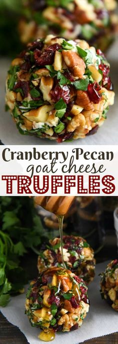 Cranberry Pecan Goat Cheese Truffles: these festive mini cheese balls only take 15 minutes and are loaded with creamy goat cheese, cranberries and crunchy Fisher Nuts pecans! Pecan Goat Cheese Truffles: these festive mini cheese balls only take 15 minutes Holiday Appetizers, Yummy Appetizers, Appetizer Recipes, Holiday Recipes, Party Appetizers, Appetizer Ideas, Appetizers With Goat Cheese, Dessert Recipes, Holiday Treats