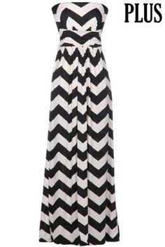 PLUS SIZE MAXI DRESS CHEVRON PRINT NAVY AND WHITE WITH SIDE POCKETS TUBE TOP