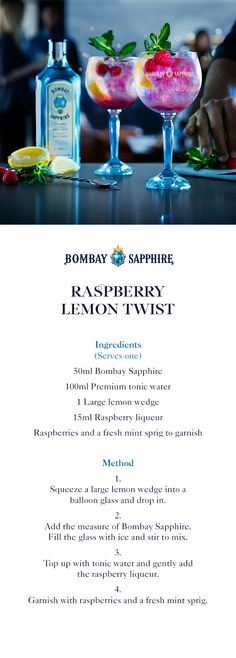 Bombay Sapphire Premium tonic water 1 Large lemon wedge raspberry liqueur or limoncello Fancy Drinks, Cocktail Drinks, Yummy Drinks, Alcoholic Drinks, Beverages, Gin Cocktail Recipes, Tonic Water, Gin And Tonic, Bacardi