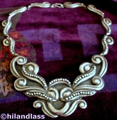 DRAMATIC VTG TAXCO MEXICO MEXICAN STERLING 940 SILVER REPOUSSE PECTORAL NECKLACE #Handmade