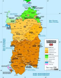 linguistic map of Sardinia. Italian is not in the map since it is spoken by everybody