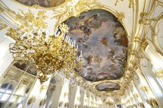 Große Gallerie, Schloss Schönbrunn, Vienna, Austria First Kiss, Ceiling Lights, Spaces, Sparkle, Ceiling Lamps, Ceiling Lighting