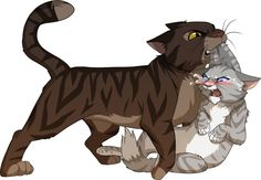 Jayfeather doesn't look too happy about Brambleclaw carrying him