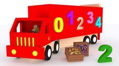 Números para niños en español. Aprender a contar del 1 al 10. Camiones d...
