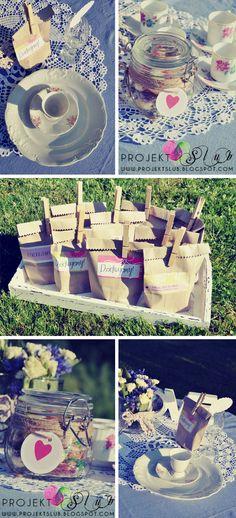 projekt ŚLUB - zaproszenia ślubne, oryginalne, nietypowe dekoracje i dodatki na wesele: Eko podziękowanie dla gości na ślub w stylu rustykalnym - torebki na słodycze
