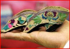 """Antique lotus shoes. Beautiful embrodery but totally disagree with this """"method"""" (just to give it a name)"""