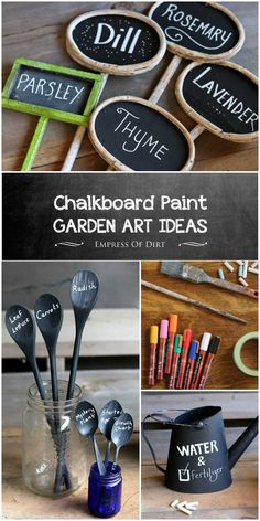 Chalkboard paint has all sorts of creative uses in the garden including plant markers and tags signs labels and more. Chalkboard marking pens give it even more possibilities. Garden Crafts, Garden Art, Garden Design, Garden Ideas, Garden Oasis, Garden Club, Garden Planters, Garden Tips, Chalkboard Markers