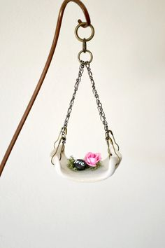 love.... pebble and pink rose ornament by 3BoxStudios on Etsy