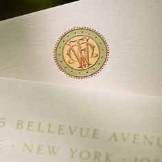 Bespoke Stationery | Ecru Card with Plain Edge and Primrose, Artemis Green and Copper Monogram. Photo by Paul Abbene for The Printery