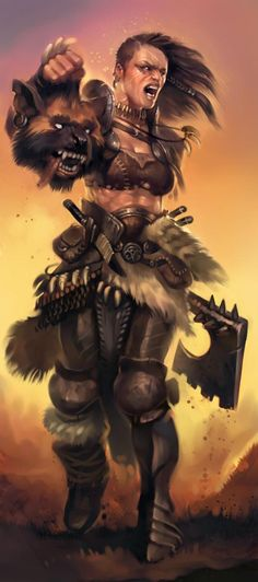 Woman warrior with gnoll head