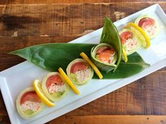 Dami Spring Roll - a cool-as-a-cucumber roll of salmon, crabmeat, shrimp and tuna with avocado {no rice}